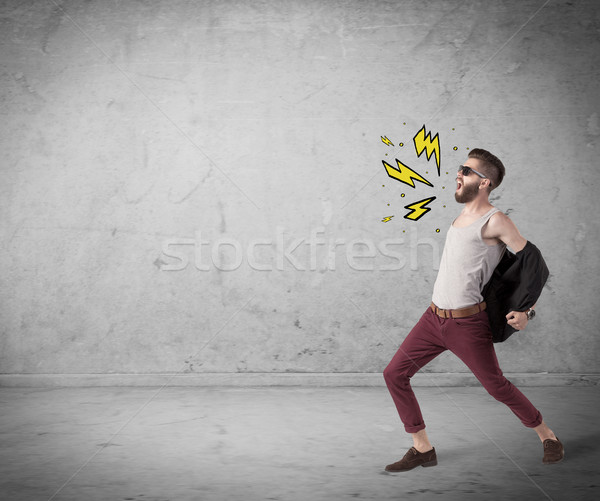 Funny hipster in fashion clothing shouting Stock photo © ra2studio