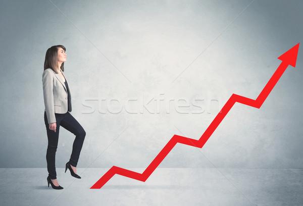 скалолазания красный графа стрелка бизнеса Сток-фото © ra2studio