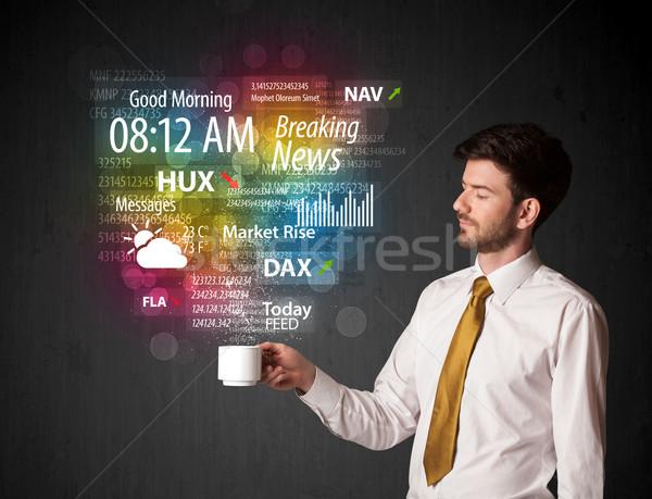 бизнесмен белый Кубок ежедневно Новости Сток-фото © ra2studio