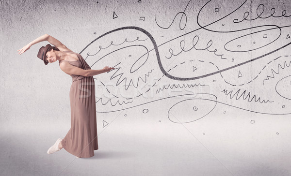 Ballet dancer performing art dance with lines and arrows Stock photo © ra2studio
