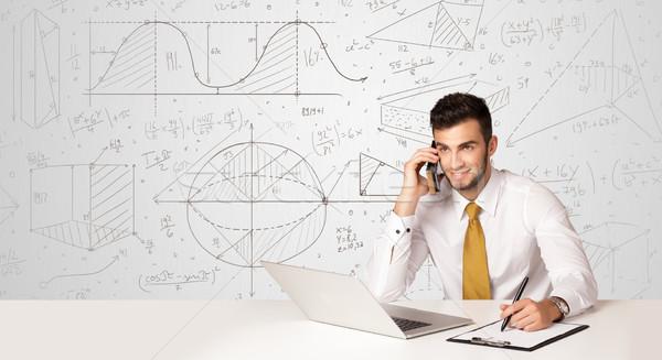 Stockfoto: Zakenman · business · zakenman · vergadering · witte · tabel