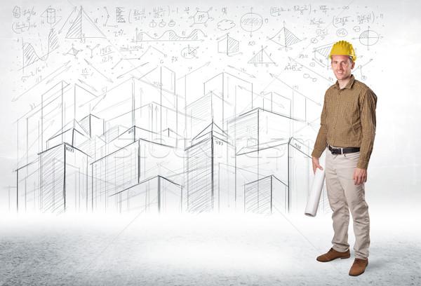 Knap bouw specialist stad tekening business Stockfoto © ra2studio