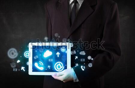 Személy tart tabletta kék technológia ikonok Stock fotó © ra2studio