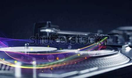 проигрыватель играет виниловых аннотация линия Сток-фото © ra2studio