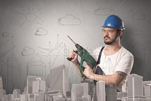 Cidade plano trabalhador handyman ferramenta mão Foto stock © ra2studio