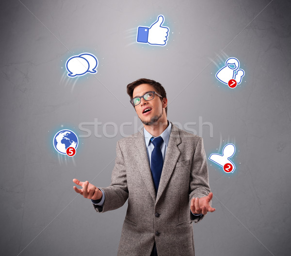 Knap jongleren social media iconen jongen Stockfoto © ra2studio