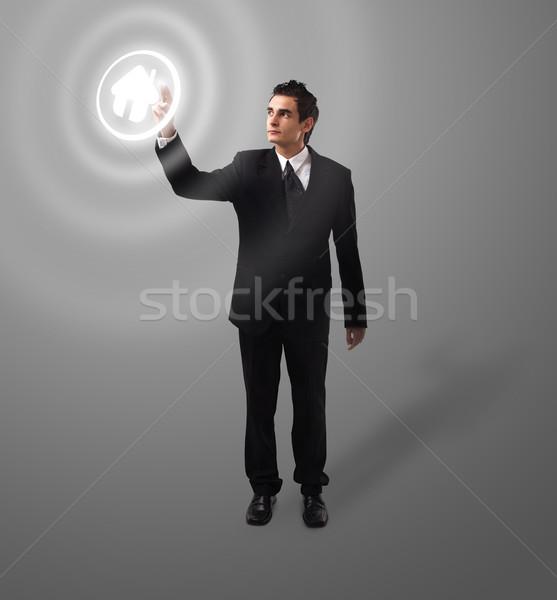 деловой человек кнопки домой футуристический цифровая технология Сток-фото © ra2studio