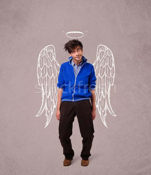 Moço anjo ilustrado asas sujo homem Foto stock © ra2studio