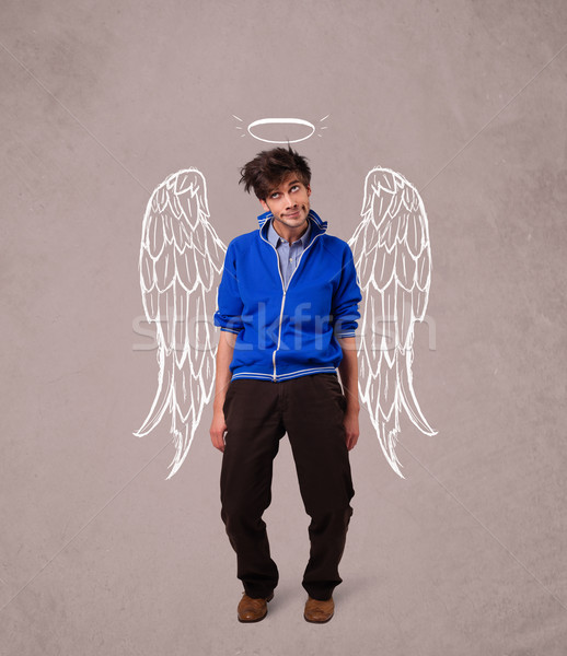 Stockfoto: Jonge · man · engel · geïllustreerd · vleugels · man