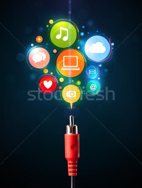 Sosyal medya simgeler dışarı elektrik kablo Stok fotoğraf © ra2studio