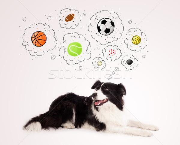 Cute psa myśl pęcherzyki czarno białe Zdjęcia stock © ra2studio