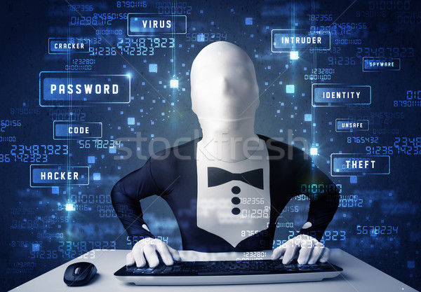 Man without identity programing in technology enviroment with cyber icons and symbols Stock photo © ra2studio