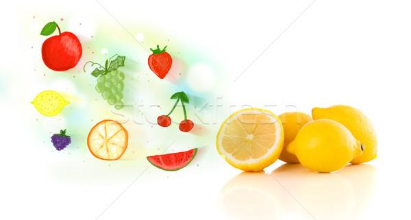 Kleurrijk vruchten geïllustreerd witte voedsel Stockfoto © ra2studio