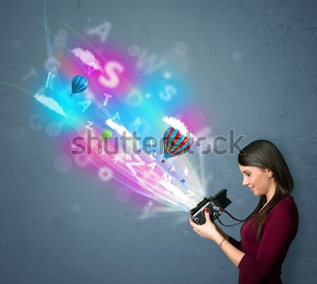 カメラマン カメラ 抽象的な 虚数 かわいい 少女 ストックフォト © ra2studio