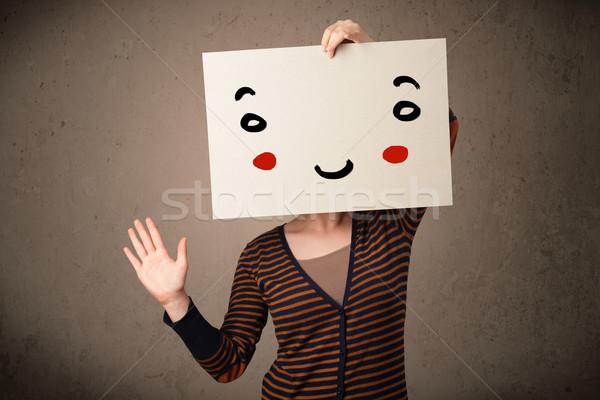 Nő tart karton mosolygós arc fiatal nő lány Stock fotó © ra2studio