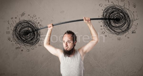 тощий парень хаос смешные стороны Сток-фото © ra2studio