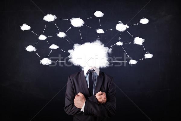 Zakenman cloud-netwerk hoofd kaart technologie Stockfoto © ra2studio