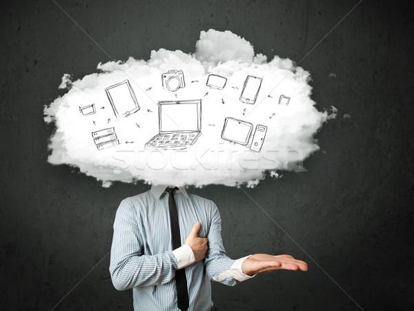 Photo stock: Professionnels · homme · d'affaires · réseau · cloud · tête · internet · technologie