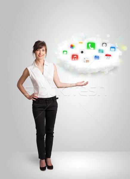 Fiatal nő bemutat felhő színes app ikonok Stock fotó © ra2studio