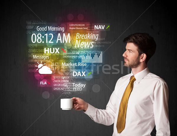 üzletember tart fehér csésze minden nap hírek Stock fotó © ra2studio