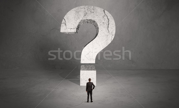ストックフォト: 混乱 · ビジネスマン · ビッグ · 疑問符 · 小 · エレガントな