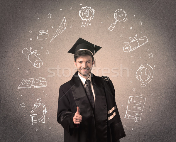 Stockfoto: Gelukkig · afgestudeerde · tiener · school · iconen