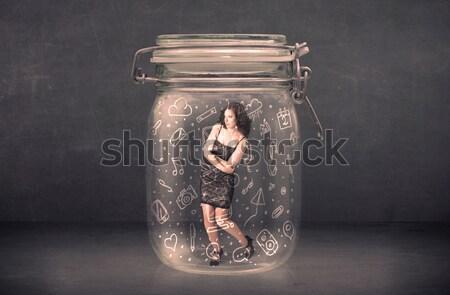 Empresária dentro jarra poderoso linhas Foto stock © ra2studio