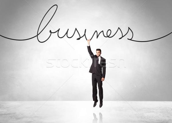 Stockfoto: Opknoping · zakenman · business · touw · hand · helpen