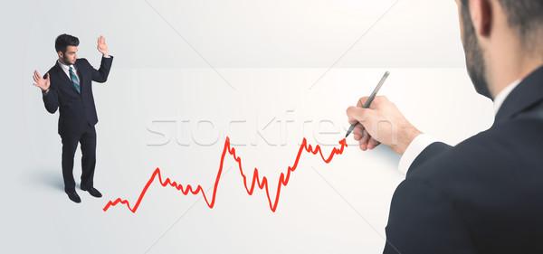 Foto stock: Empresário · olhando · linha · mão · homem