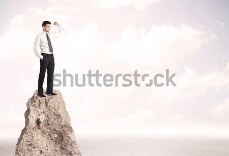 Happy businessman standing on cliff Stock photo © ra2studio