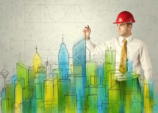 Negocios arquitecto paisaje urbano jóvenes dibujo Foto stock © ra2studio