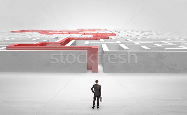 Zakenman labyrint klaar business licht Stockfoto © ra2studio