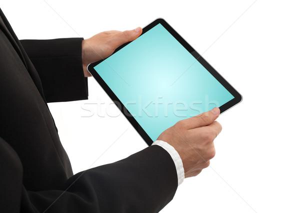 Imprenditore touchpad pc isolato bianco Foto d'archivio © ra2studio