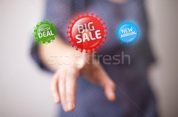 Zdjęcia stock: Strony · duży · sprzedaży · przycisk · kobieta