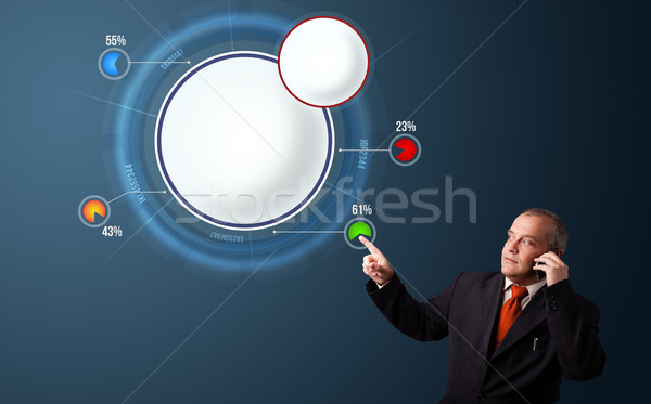 Businessman in suit making phone call and presenting abstract modern pie chart Stock photo © ra2studio