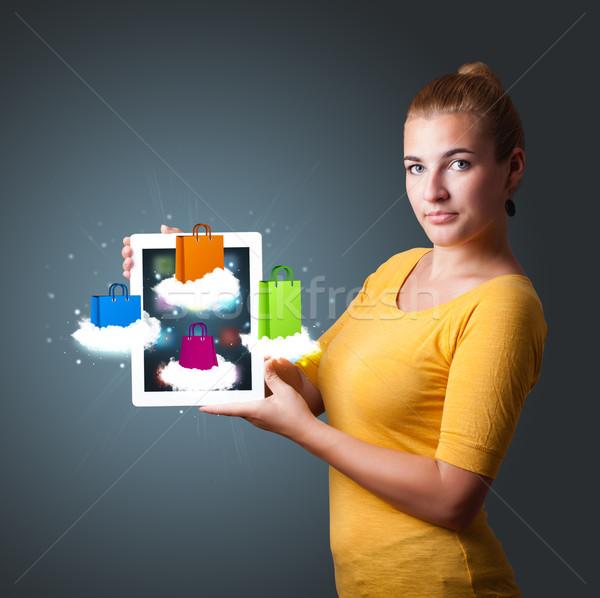 Mujer hermosa moderna tableta colorido Foto stock © ra2studio
