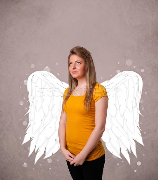 Sevimli kişi melek resimli kanatlar Stok fotoğraf © ra2studio