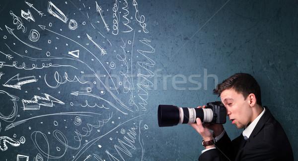 カメラマン 少年 撮影 エネルギッシュな 手描き ストックフォト © ra2studio