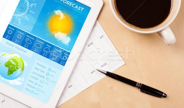 Işyeri hava durumu tahmin fincan Stok fotoğraf © ra2studio