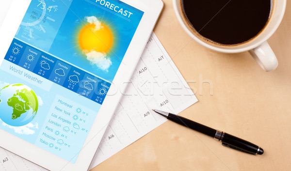 Pracy pogoda prognoza kubek Zdjęcia stock © ra2studio