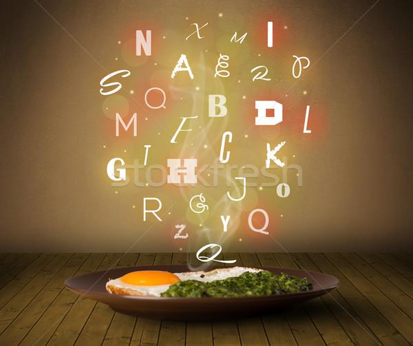 Taze pişirmek gıda renkli harfler ahşap Stok fotoğraf © ra2studio