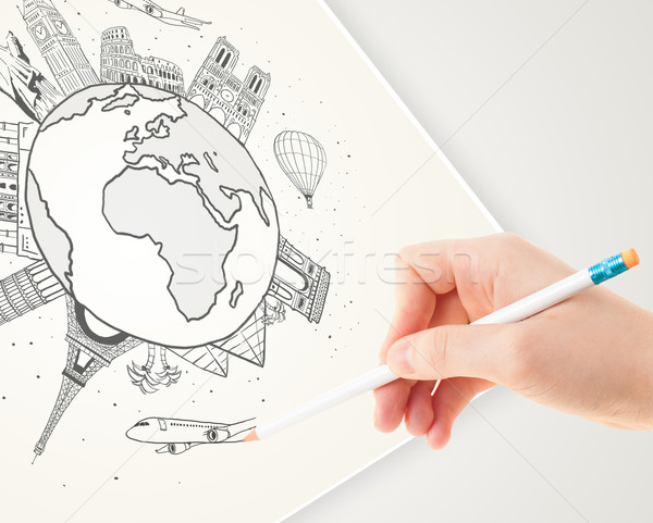 Hand drawing vacation trip around the globe with landmarks and major cities  Stock photo © ra2studio