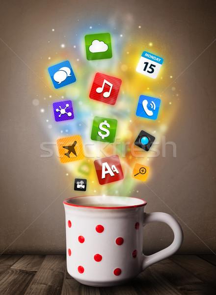 Koffiemok kleurrijk media iconen voedsel Stockfoto © ra2studio