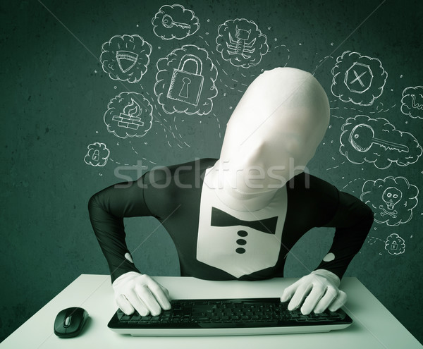 Hacker in mask morphsuit with virus and hacking thoughts Stock photo © ra2studio