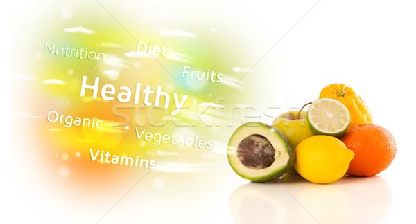 カラフル ジューシー 果物 健康 文字 標識 ストックフォト © ra2studio