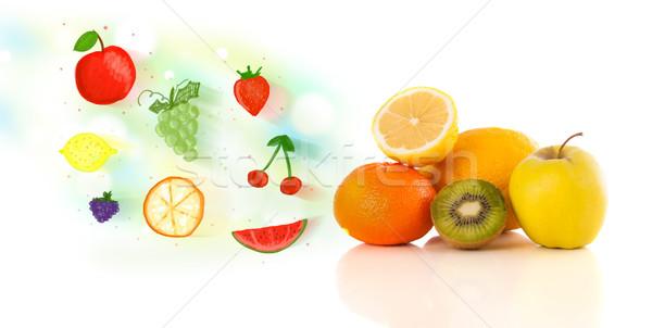 Colorido frutas dibujado a mano ilustrado blanco alimentos Foto stock © ra2studio