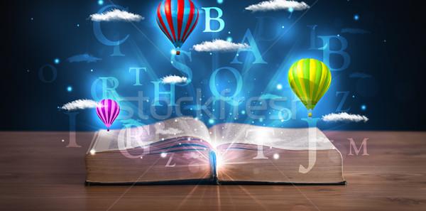 открытой книгой фантазий аннотация облака шаров Сток-фото © ra2studio
