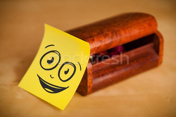 Jegyzet mosolygós arc ékszerek doboz rajzolt papír Stock fotó © ra2studio
