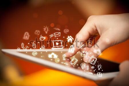 Vinger wijzend social media hand aanraken Stockfoto © ra2studio