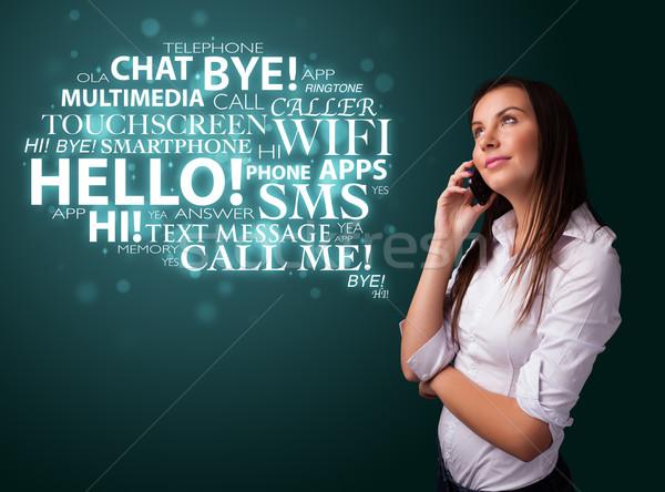 Młoda dziewczyna wzywając telefonu chmura słowo dość dziewczyna Zdjęcia stock © ra2studio
